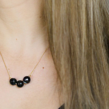 Necklace with Black Faceted Agate and Gold FIlled Chain Elegant and Hypoallergenic.