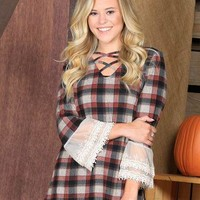 Cameron's Maroon Plaid Cross Neck with Lace Accent Sleeve
