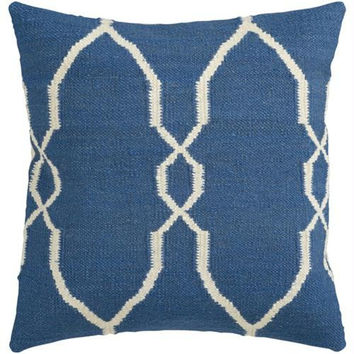 Blue And White Throw Pillow - Candice Olson Design