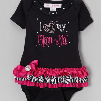 I Love Glam-ma Black Bodysuit with Hot Pink and Zebra Tutu  FREE SHIPPING  baby girl shower gift take home outfit grandma outfit baby girl
