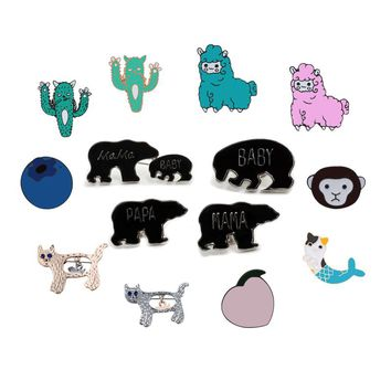New Fashion Cartoon Animal Sheep Cat Plant Cactus Fruit Kiwi Blueberry Pins Brooch Coat Packet Enamel Pin Badge Brooches Jewelry