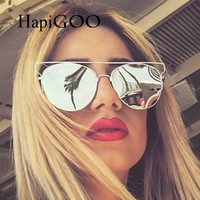HapiGOO Vintage Fashion Women Flat Top Mirror Sunglasses Women Men Fashion Luxury Brand Designer Technologic Sun Glasses Female