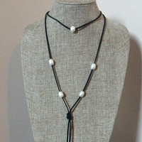 Leather Pearl Long Necklace Natural Freshwater Pearls Faux Black Suede Leather Lariat Tassel