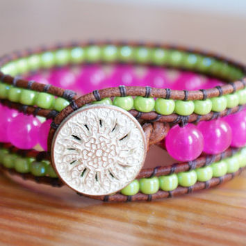Hot Pink Cuff bracelet, Jade Boho leather wrap, brown, pink, rose, lime green, trendy jewelry, hipster, by OlenaDesigns