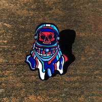 Space Madness Enamel Pin - 1 And a Half Inch Blue Red and White Science Fiction Enamel Lapel Pin Gift For Bags Back Packs and Hats