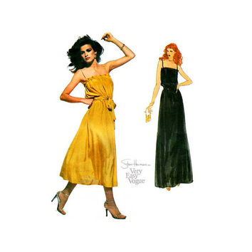 Halter Dress Pattern Very Easy Vogue 2011 Stan Herman Evening Dress in Two Lengths Size 6, Bust 30 1/2 Uncut FF