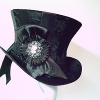 Black Stripy Top Hat with Cameo Victorian, Goth | GypsyLadyHats - Accessories on ArtFire