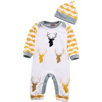 Deer Antlers Printed Infant Bodysuit Baby Romper and Hat 2pc set