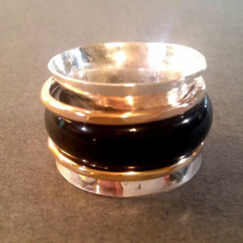 silver spinner ring | cigar band ring | gold spinner ring | spinning ring | meditation ring | wide cigar band | onyx ring |