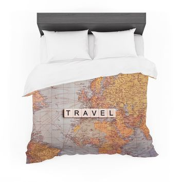 "Sylvia Cook ""Travel Map"" World Featherweight Duvet Cover"