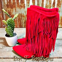 Sassy Red Fringe Booties
