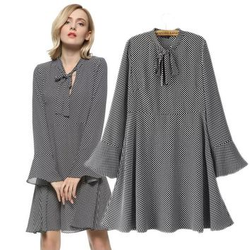 Work Office dress Women 5XL plus size Tops Dot Bow Tie Pattern dresses Women Clothing Autumn Knee-Length Flare Sleeve Casual