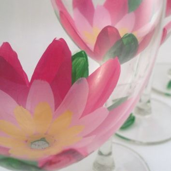 Lotus flowers Hand painted wine glasses set of 4 by RaeSmith