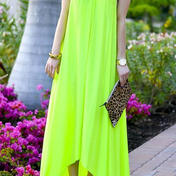 Light Green Bohemian Spaghetti Strap Chiffon Maxi Dress