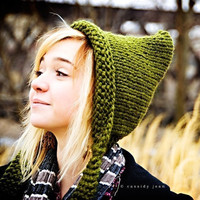 Hand Knit Hat Pixie Hat in Olive Green Winter by pixiebell