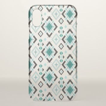 Vintage Abstract Geometric Batik Green Shapes iPhone X Case