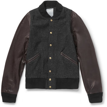 Visvim - Barnstorm Leather and Wool-Blend Bomber Jacket | MR PORTER