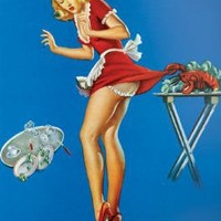 Fresh Lobster Blonde Waitress Pinched Retro Art Print Poster Poster Poster Print, 24x36