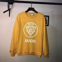 HCXX 19Aug 333 Gucci Super Heavy Work Reflective Printing Terry Cotton Sweater Yellow