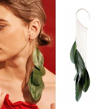 Trendy Green Leaves Feather Long Tassels Cuff Clip Earrings Without Piercing Crawlers Women  Ear Cuff Fashion Jewelry