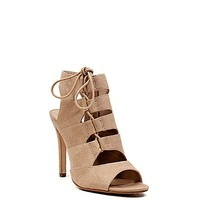Happy Hour 45 Heel Oatmeal Beige Womens Cut Out Booties