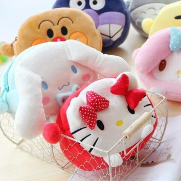 candice guo cute plush toy bag cartoon anpanman Totoro melody Cinnamoroll gudetama Portable Cosmetic Bag girls birthday gift 1pc