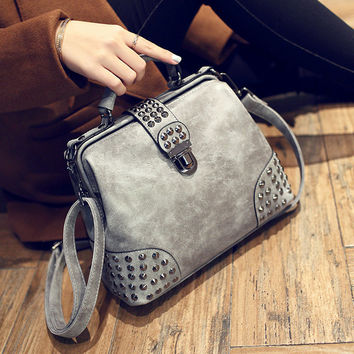 Womens Leather Studded Crossbody Doctor Bag Shoulder Handbag