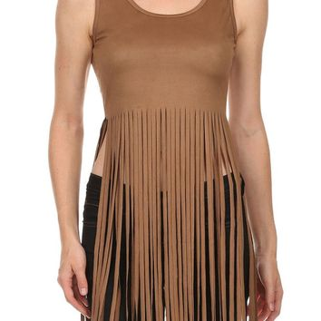 Sexy Knit Suede Sleeveless Cropped Long Fringed & Low Back Tank Top