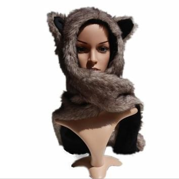 Retail New Faux Fur Women's Hat  Wolf  Winter Cartoon Plush Fur Animal Hats /Scarf  Gloves Sets Warm Caps 10 Color Beanies