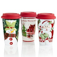 Fitz and Floyd Holiday Travel Mug Collection