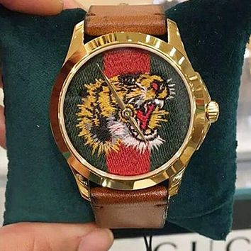 GUCCI Popular Ladies Men Tiger Embroidery Watch Movement Watches Couple Wrist Watch I