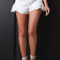 Floral Embroidery High Waist Scalloped Shorts