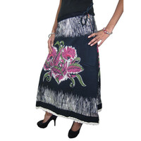 Mogulinterior Designer Gypsy Tie Skirt Black Floral Printed  Cotton Hippie Loang Lacework Maxi Skirts