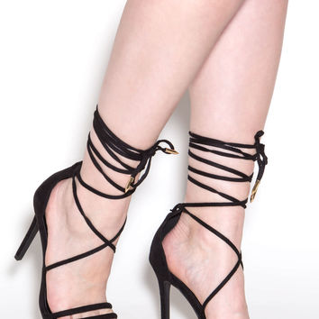 Ride Or Tie Faux Suede Lace-Up Heels GoJane.com