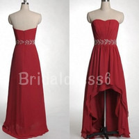 Bead Wine Red Sweetheart Strapless High Low Long Celebrity Bridesmaid Dress,Floor Length Chiffon Formal Evening Party Prom Homecoming Dress