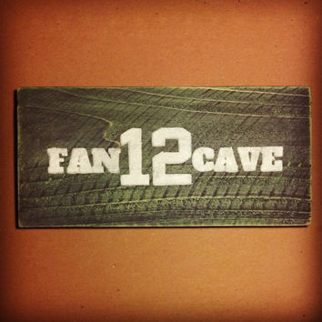 12th Fan Cave Sign, 12th Fan Sign, Hand Painted Wooden Seahawks Sign, Vintage Inspired 12th Man Sign, Seahawks Fan Cave, Seahawks Fan Cave