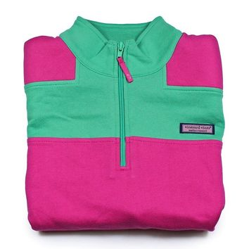 VINEYARD VINES Womens COLOR BLOCK SHEP SHIRT New MEDIUM M Pink, Green 2K0384