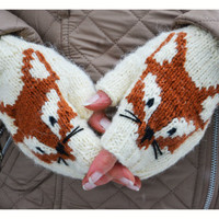 Fox Fingerless mittens , hand knit fox mittens ,  gloves, hand knit fingerless mittens, fingerless gloves,knit gloves