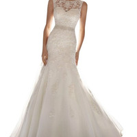 Latest Sleeveless Lace Beading Wedding Dress Wedding Gown/Bridal Gown = 1933191876