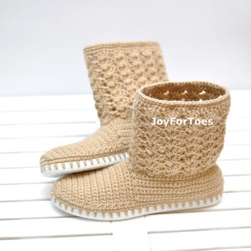 Crochet Laced Women Boots for the Street Straw Beige Cottage Chic Boho Style One-colored Custome Made