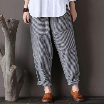 Plus Size CELMIA Women Retro Striped Pockets Elastic Waist Cotton Linen Long Pants Loose Trousers Harem Capris Pantalon 2018