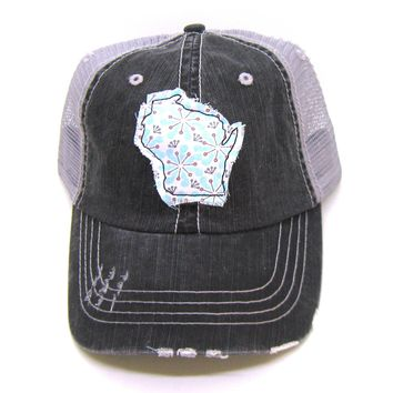 Wisconsin Hat - Gray and Black Distressed Trucker Hat - Retro Daisy Applique - All States Available