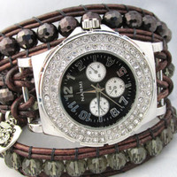 Black Chronograph Beaded Leather Wrap Rhinestone Watch with Owl Charm
