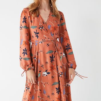 UO Audrey Long-Sleeve Wrap Midi Dress | Urban Outfitters Canada