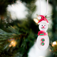 Christmas Ornament - Snowman Ornament - Paper Ornament - Red and Green Ornament