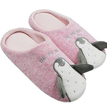 KINGSEVEN Womens and Mens Couple Cute Penguin Knitted Soft Sole House Slippers AntiSlip Indoor Shoes