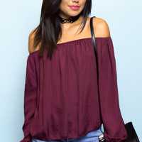 Zara Stain Off The Shoulder Top - Wine