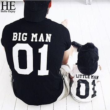 Father son clothes family matching outfits summer little man and big man T-shirt for dad and son clothes