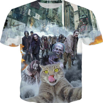 Cat Selfie - Selfie In Zombie Apocalypse v.2 Men, Women And Kids T-Shirts