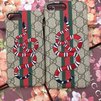 VONE05O GUCCI Fashion Print Embroidery iPhone Phone Cover Case For iphone 8 8plus iPhone6 6s 6